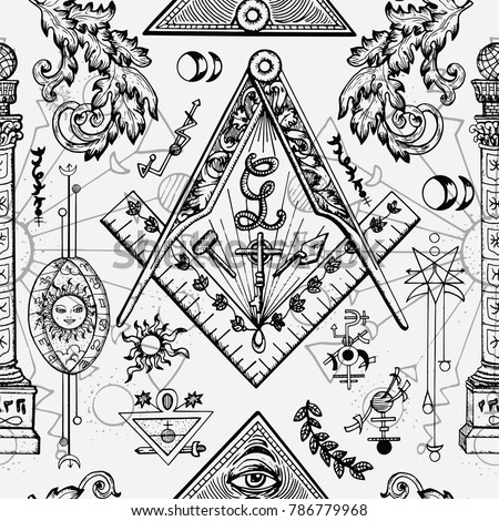 Seamless Background Mason Mysterious Symbols Freemasonry Stock