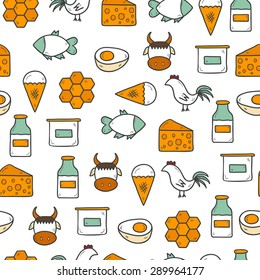 Seamless background with modern cute hand drawn objects with products containing animal protein and prohibited for vegans: milk, cheese, egg, yogurt, fish, ice cream, red meat, honey, poultry meat