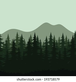 Seamless background, mountain landscape, night forest with fir trees silhouettes. Vector