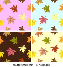 Seamless background with multicolor autumn leaves. Vector illustration. Layout for discount labels and shopping.