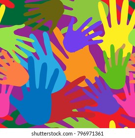 Seamless background of multi-colored prints of hands. Traditional Indian festival. Bengali New Year. Holiday of spring and nature. Holi decoration elements. Colored palms. Vector illustration.
