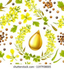 Seamless background of mustard, flower, seeds and oils. Vector illustration.