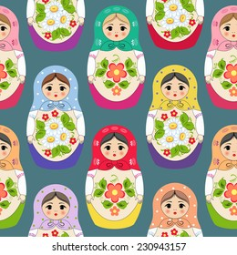 Seamless background with nested dolls. Vector illustration