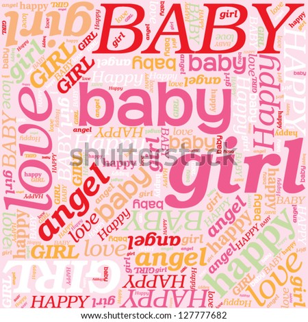 Seamless Background For Newborn Baby Girl Pattern Affection And Love Its A Girl Word