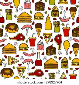 Seamless background with objects on american food theme: fried potato, hot dog, soda, hamburger, sandwich. Ethnic cuisine and travel concept for your design