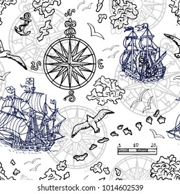 Seamless background with old sailing ship, gulls, compass and treasure islands on white. Pirate adventures, treasure hunt and old transportation concept. Hand drawn vector illustration