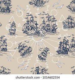 Seamless background with old sailings ships. Pirate adventures, treasure hunt and old transportation concept. Hand drawn vector illustration, vintage background