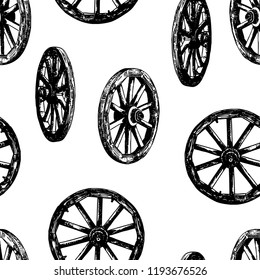Seamless background of old wooden wheels