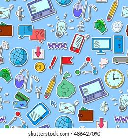 Seamless background on a theme business on the Internet and information technology , the colored icons on blue background