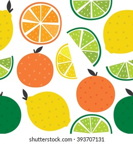seamless background with oranges, lemons, limes and grapefruits