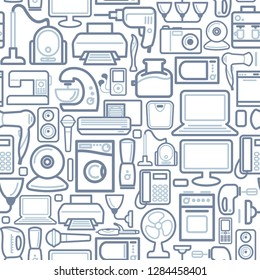 Seamless background of outline home appliances icons