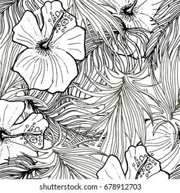 Seamless Background With Palm  Leaves And Tropical Flowers. Jungle Pattern  For Textile Or Book Covers, Manufacturing, Wallpapers, Print, Gift Wrap And Scrapbooking. Hand Drawn Monochrome Wallpaper.