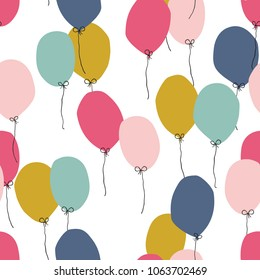 Seamless Background With Party Balloons Of Different Colors Perfect For Kids Design Fabric