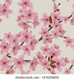 Seamless background pattern of blossoming branches of Japanese cherry on grey. Pink Sakura floral seamless texture, EPS 10 vector