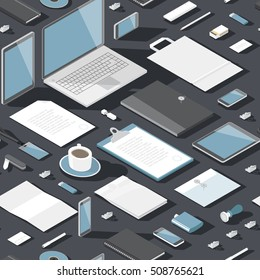 Seamless background pattern for business. Stationery office objects and computer devices. Vector illustration.