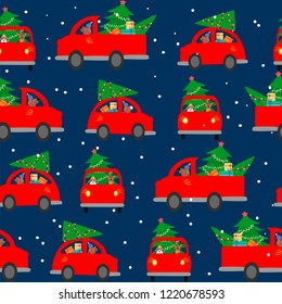 Seamless background, pattern. The car carries a Christmas tree to decorate the house. Colorful vector illustration for the winter holidays. You can use for funny Christmas cards.