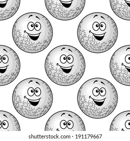 Seamless background pattern of cartoon golf balls with big happy smiles in a close repeat motif in square format
