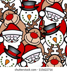 seamless background pattern of christmas santa, reindeer and snowman