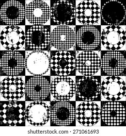 seamless background pattern, with circles/squares, strokes and splashes, black and white