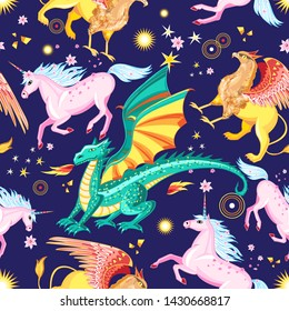 Seamless background pattern of colorful mystical creatures on blue with decorations showing a dragon snorting fire, griffin and galloping unicorn for print, tiles and wallpaper