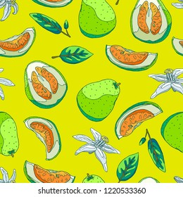 Seamless background with a pattern of delicious organic pomelo fruit for fresh juice. Slices of pomelo with peel and seeds, half and whole pomelo. Fragrant white flowers. Green leaves of a tree.