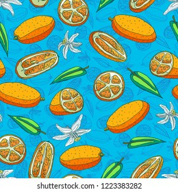 Seamless background with a pattern of delicious organic orange kumquat. Slices with peel and seeds, half and whole kumquat. Fragrant white flowers. Green leaves
