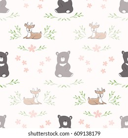 Seamless background. Pattern with doodle cute bear and deer