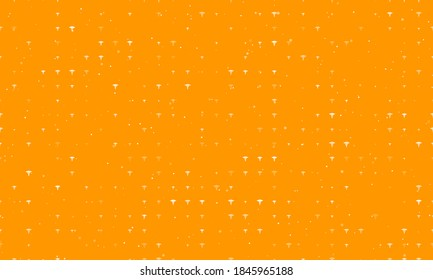 Seamless background pattern of evenly spaced white caduceus symbols of different sizes and opacity. Vector illustration on orange background with stars