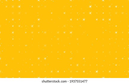 Seamless background pattern of evenly spaced white blot symbols of different sizes and opacity. Vector illustration on amber background with stars