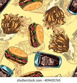 Seamless background with a pattern of fast food. Burger, fries and soda with ice.