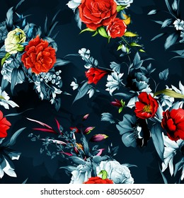Seamless background pattern. Flowers. Rose, pomegranate with wild flower with leaves on dark. Hand drawn, vector - stock.