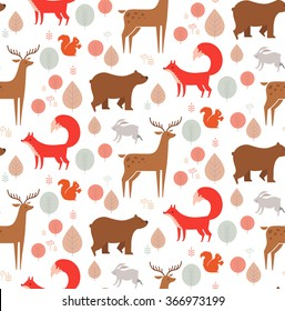 Seamless background pattern with forest animals: fox, bear, rabbit, deer and squirrel. Vector illustration in cartoon style.