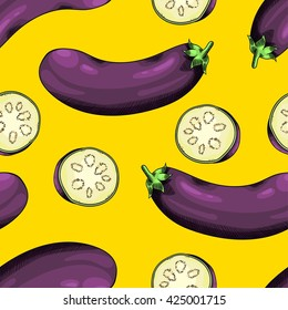 Seamless background with a pattern of fresh raw ripe eggplant and sliced eggplant