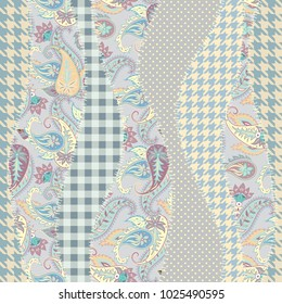 Seamless background pattern. Geometric patchwork pattern of a waves. Paisley ornament.