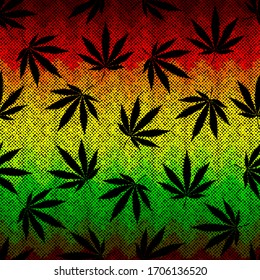 Seamless background pattern. Grunge ethnic background and hemp leaves. Vector image.