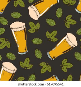 Seamless background with a pattern of hand drawn transparent glass of cold fresh beer with foam and bubbles