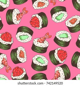 Seamless background with a pattern of hand drawn sushi set with traditional fresh delicious sushi makizushi with cucumber or avocado, red tobiko fish caviar, fillet of red salmon fish, shrimp's tail