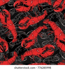 Seamless background with a pattern of hand drawn red cooked boiled lobster in a shell on chalkboard