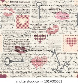 Seamless background pattern. Hearts pattern in a patchwork style.