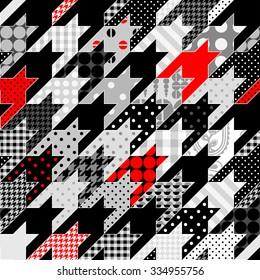 Seamless background pattern. Hounds-tooth geometric pattern in patchwork style.