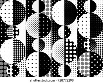 Seamless background pattern. Imitation of a patchwork pattern of a circles.. Black and white polka dot patterns.