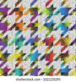 Seamless background pattern. Imitation of a texture of rough canvas painted with Hounds-tooth pattern .