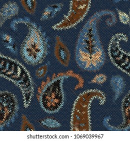 Seamless background pattern. Imitation of a texture of rough canvas painted with paisley.