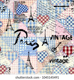 Seamless background pattern. Imitation of a vintage scrapbook collage with a Paris lettering. Vector image.