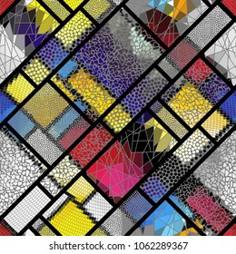 Seamless background pattern. Mosaic art pattern of rectangles of different tile textures. Vector image.