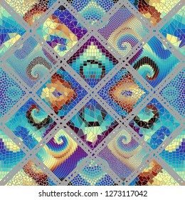 Seamless background pattern. Mosaic art pattern based on Art Nouveau style. Block design of squares. Vector image.