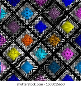 Seamless background pattern. Mosaic art pattern of rhombuses of different tile textures.