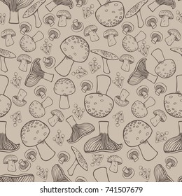 Seamless Background Pattern with Mushroom Drawings. Can be used as backgrounds, wallpapers, prints, surface design etc.
