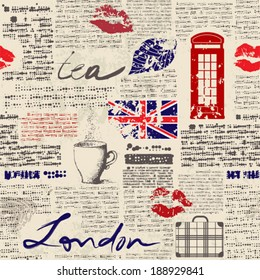 """Seamless background pattern. Newspaper """"London"""""""