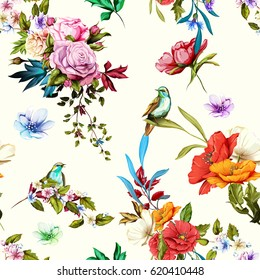 Seamless background pattern. Nightingale, roses, and wild flowers with leaves  on white. Watercolor, hand drawn.